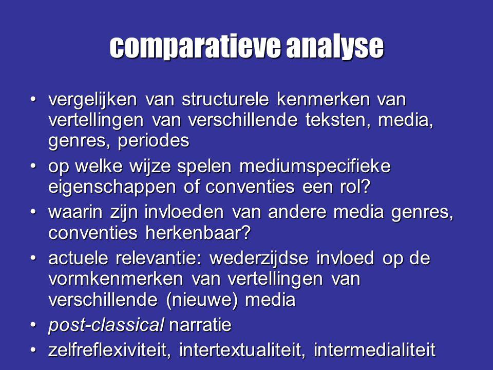 comparatieve analyse vergelijken van structurele kenmerken van vertellingen van verschillende teksten, media, genres, periodes.