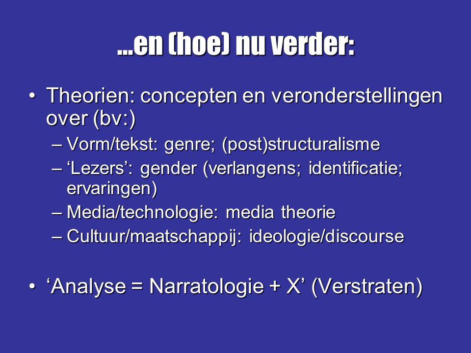 …en (hoe) nu verder: Theorien: concepten en veronderstellingen over (bv:) Vorm/tekst: genre; (post)structuralisme.