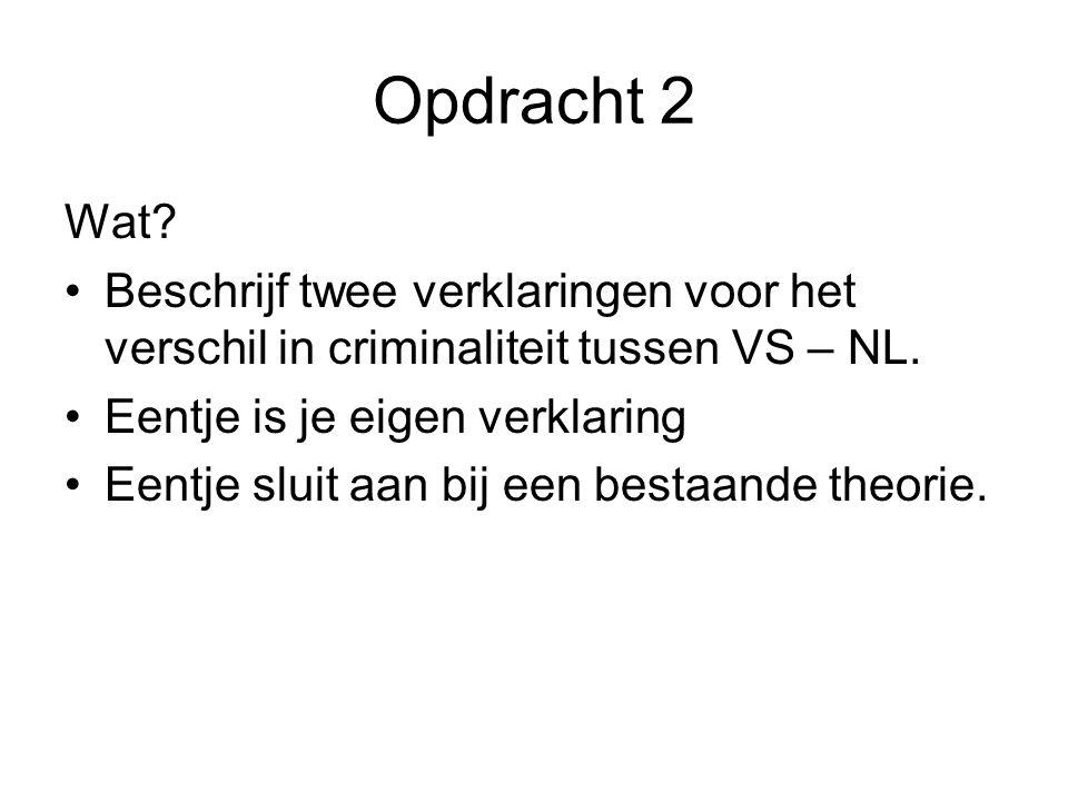 Opdracht 2 Wat Beschrijf twee verklaringen voor het verschil in criminaliteit tussen VS – NL. Eentje is je eigen verklaring.