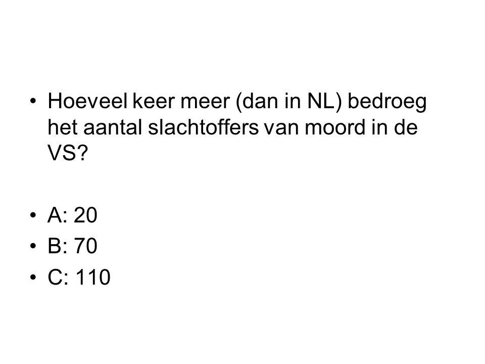 Hoeveel keer meer (dan in NL) bedroeg het aantal slachtoffers van moord in de VS