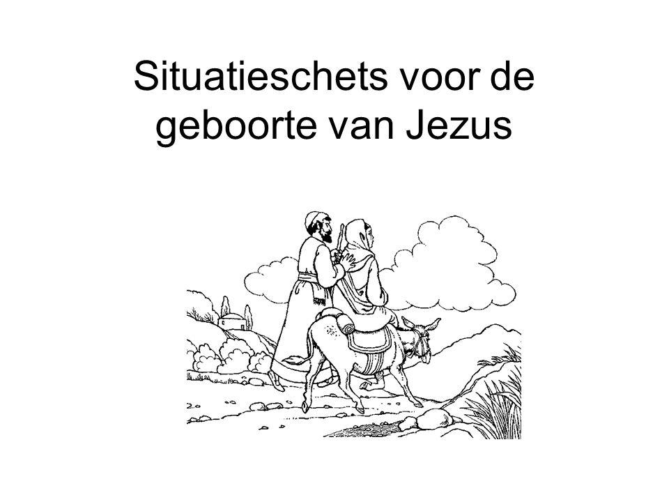 Situatieschets voor de geboorte van Jezus