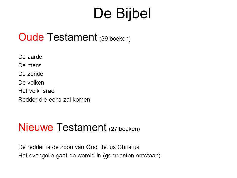 De Bijbel Oude Testament (39 boeken) Nieuwe Testament (27 boeken)