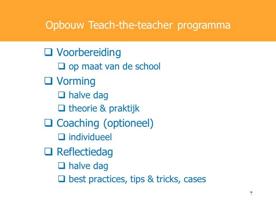Opbouw Teach-the-teacher programma