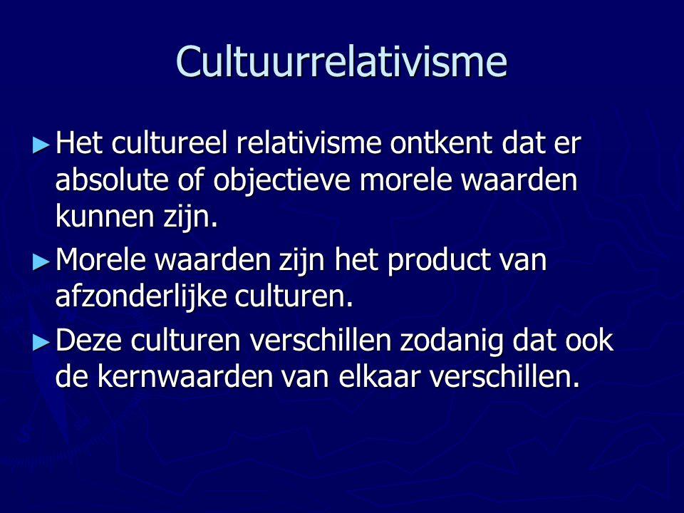 Cultuurrelativisme Het cultureel relativisme ontkent dat er absolute of objectieve morele waarden kunnen zijn.