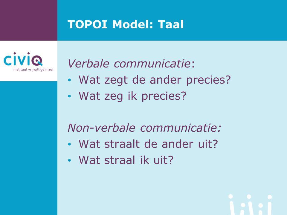 TOPOI Model: Taal Verbale communicatie: Wat zegt de ander precies Wat zeg ik precies Non-verbale communicatie: