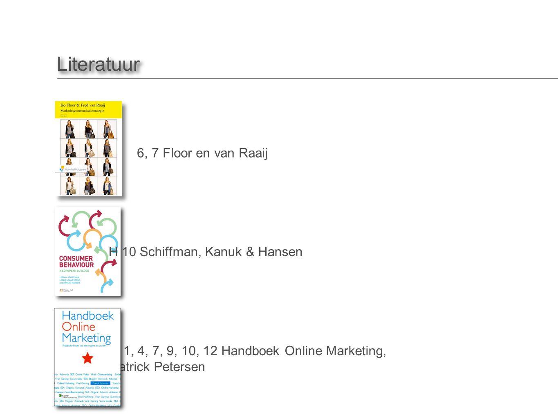 Literatuur H 5, 6, 7 Floor en van Raaij H 10 Schiffman, Kanuk & Hansen