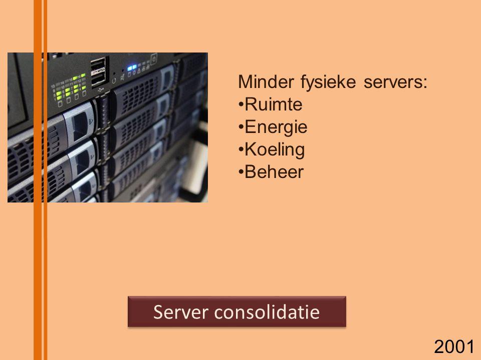 Server consolidatie Minder fysieke servers: Ruimte Energie Koeling