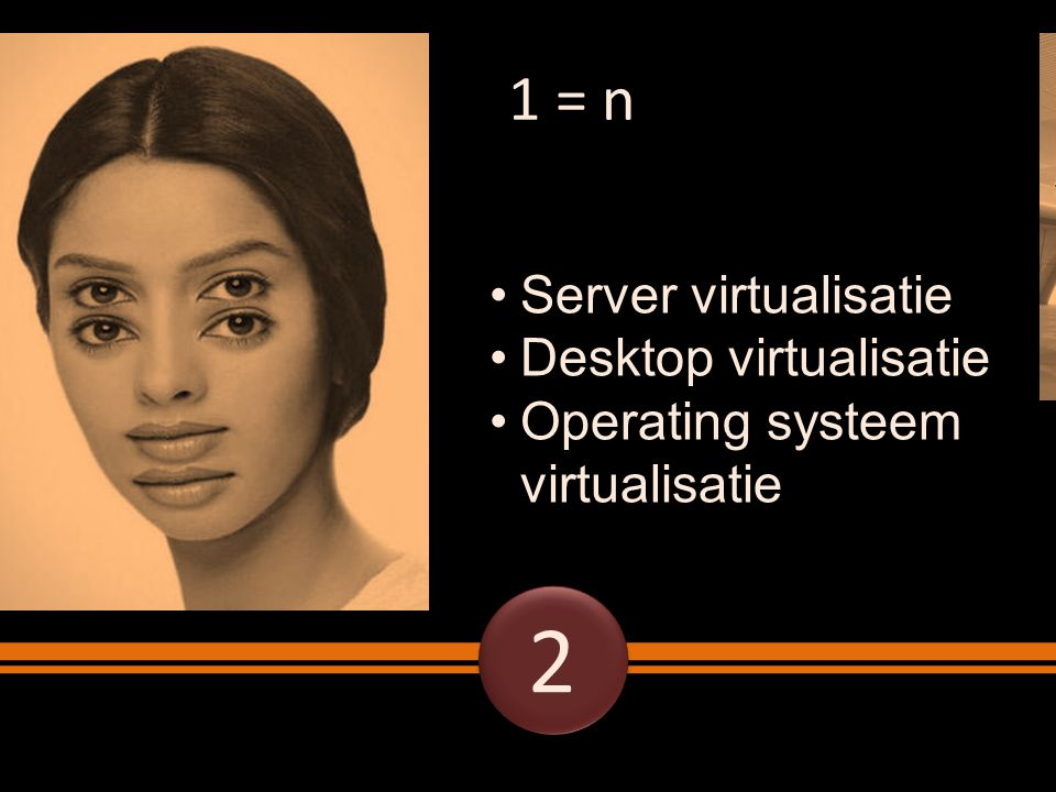 2 1 = n Server virtualisatie Desktop virtualisatie