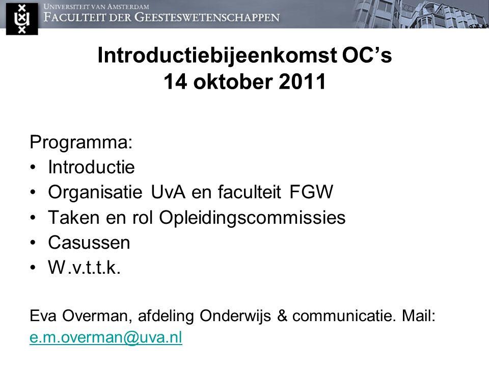 Introductiebijeenkomst OC's 14 oktober 2011