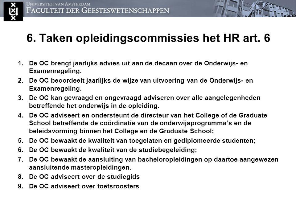 6. Taken opleidingscommissies het HR art. 6