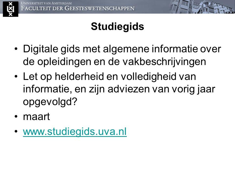 Studiegids Digitale gids met algemene informatie over de opleidingen en de vakbeschrijvingen.