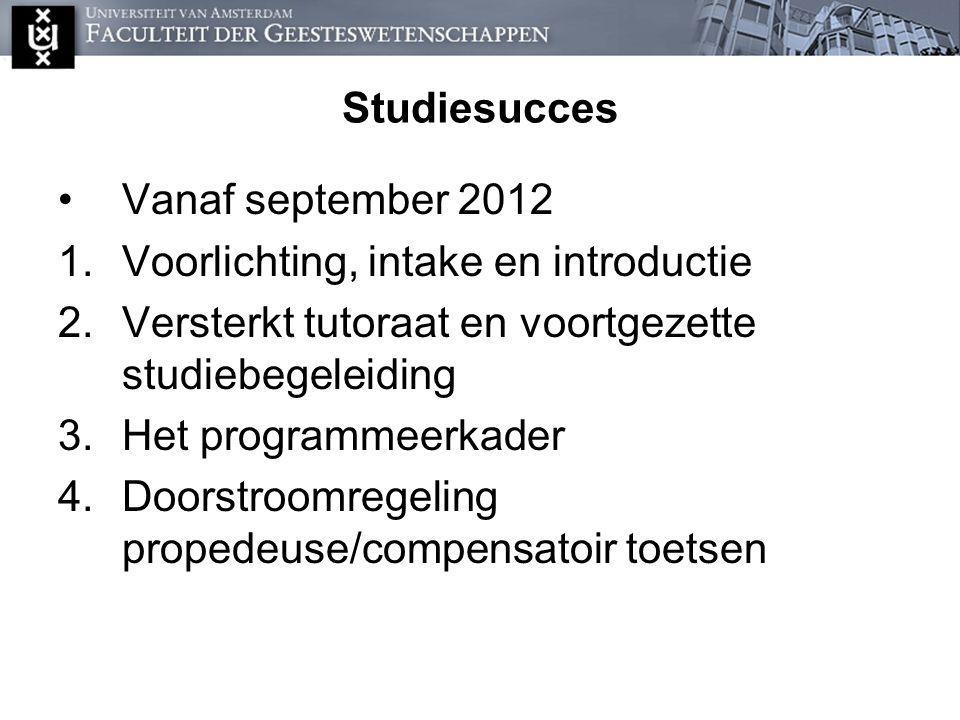 Studiesucces Vanaf september 2012. Voorlichting, intake en introductie. Versterkt tutoraat en voortgezette studiebegeleiding.