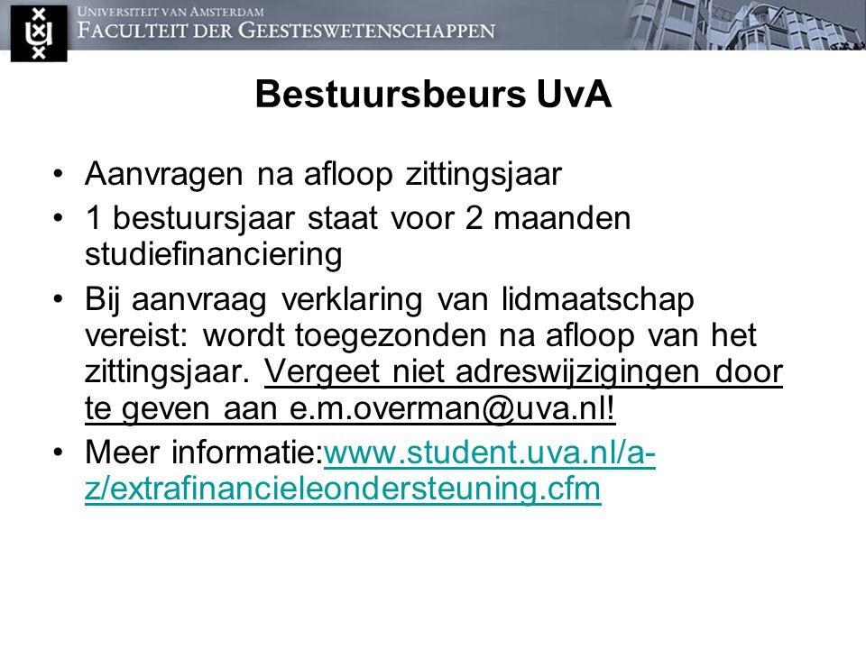 Bestuursbeurs UvA Aanvragen na afloop zittingsjaar