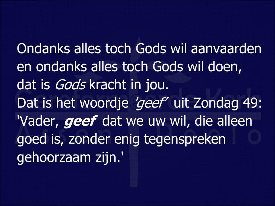 Ondanks alles toch Gods wil aanvaarden en ondanks alles toch Gods wil doen, dat is Gods kracht in jou.
