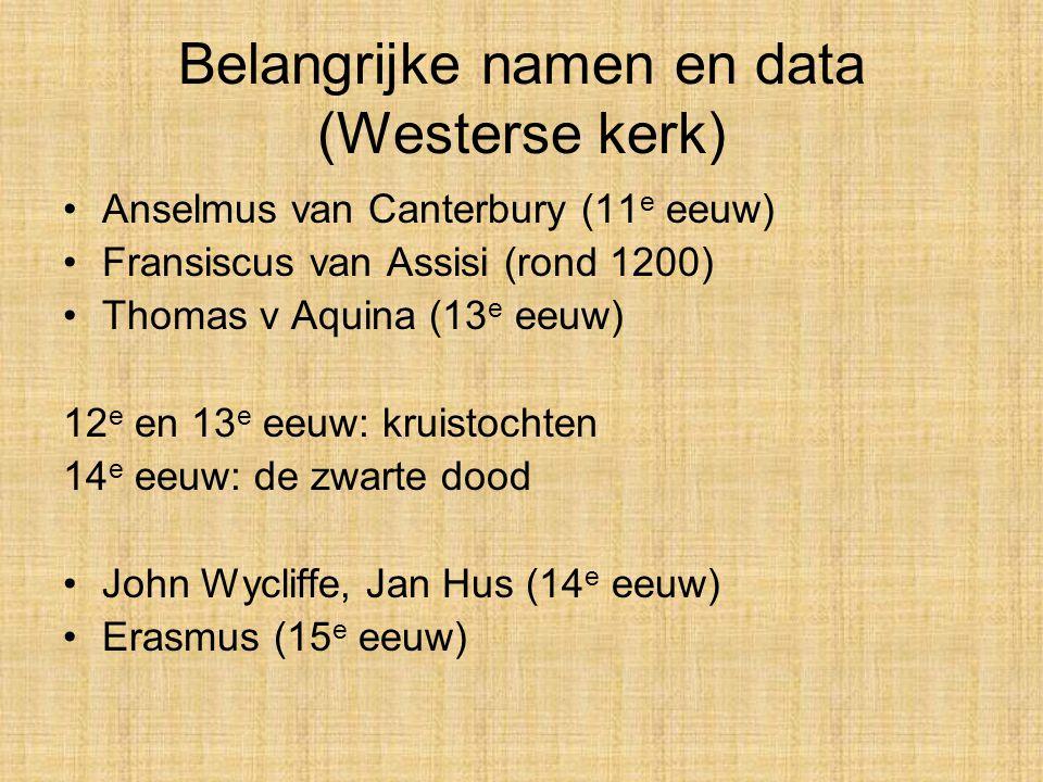 Belangrijke namen en data (Westerse kerk)