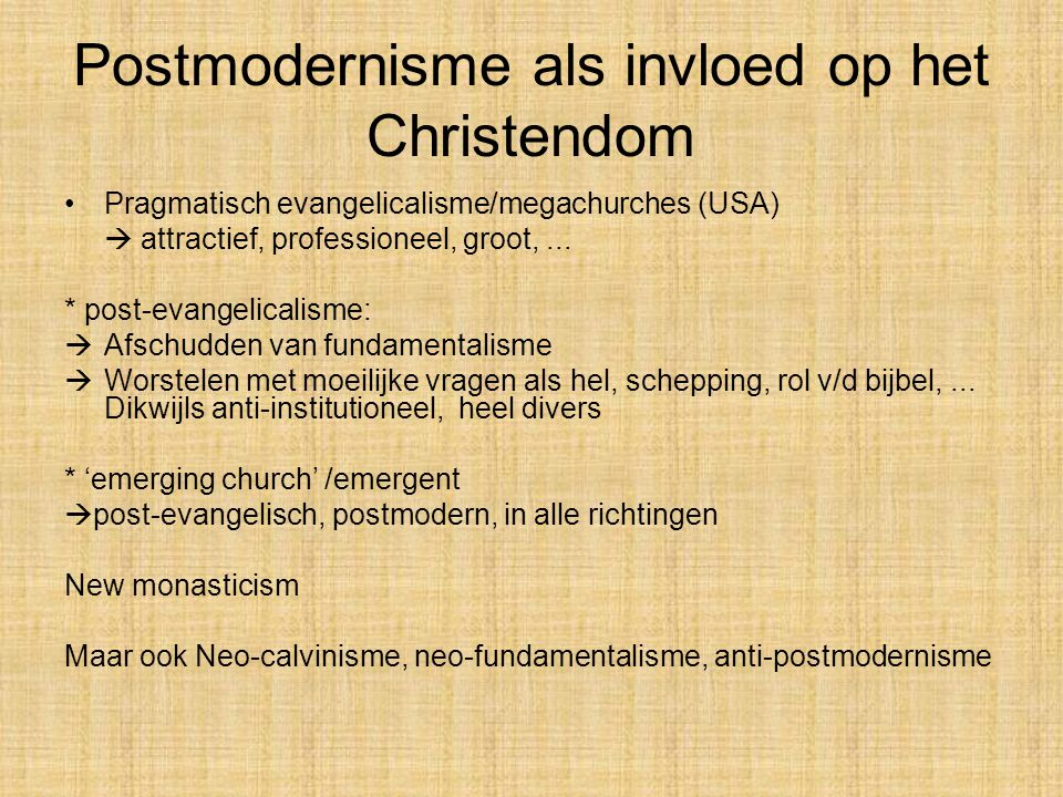 Postmodernisme als invloed op het Christendom