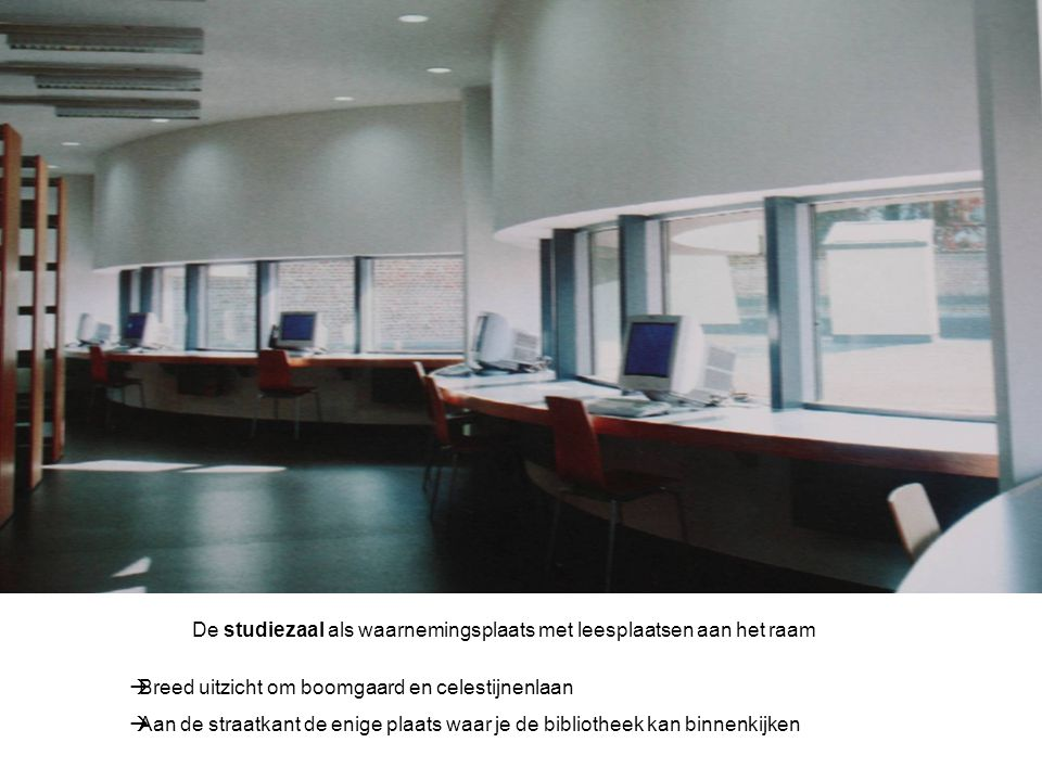 De studiezaal als waarnemingsplaats met leesplaatsen aan het raam