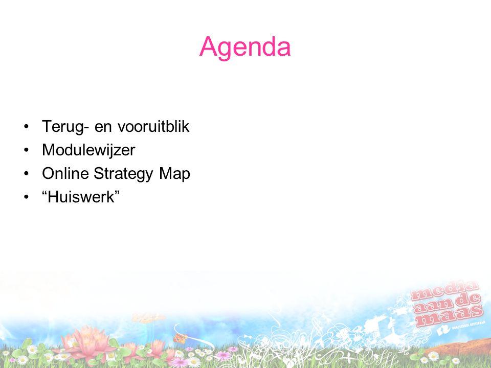 Agenda Terug- en vooruitblik Modulewijzer Online Strategy Map