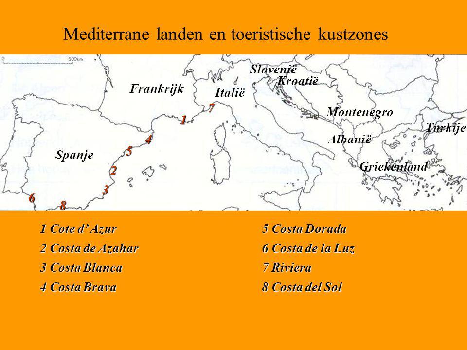 Mediterrane landen en toeristische kustzones