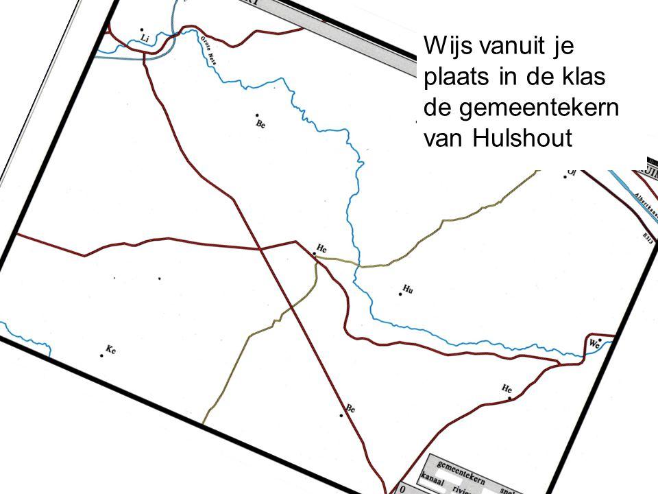 Wijs vanuit je plaats in de klas de gemeentekern van Hulshout