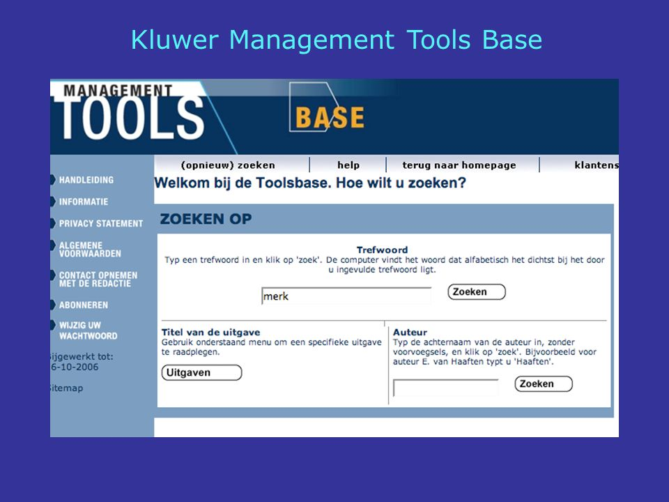 Kluwer Management Tools Base
