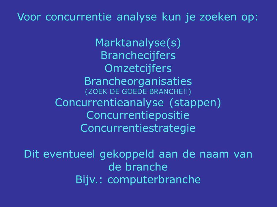 Voor concurrentie analyse kun je zoeken op: Marktanalyse(s)