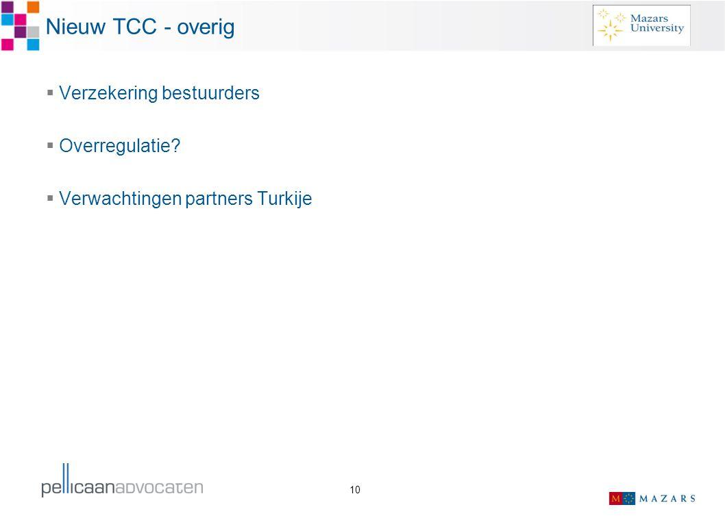 Nieuw TCC - overig Verzekering bestuurders Overregulatie