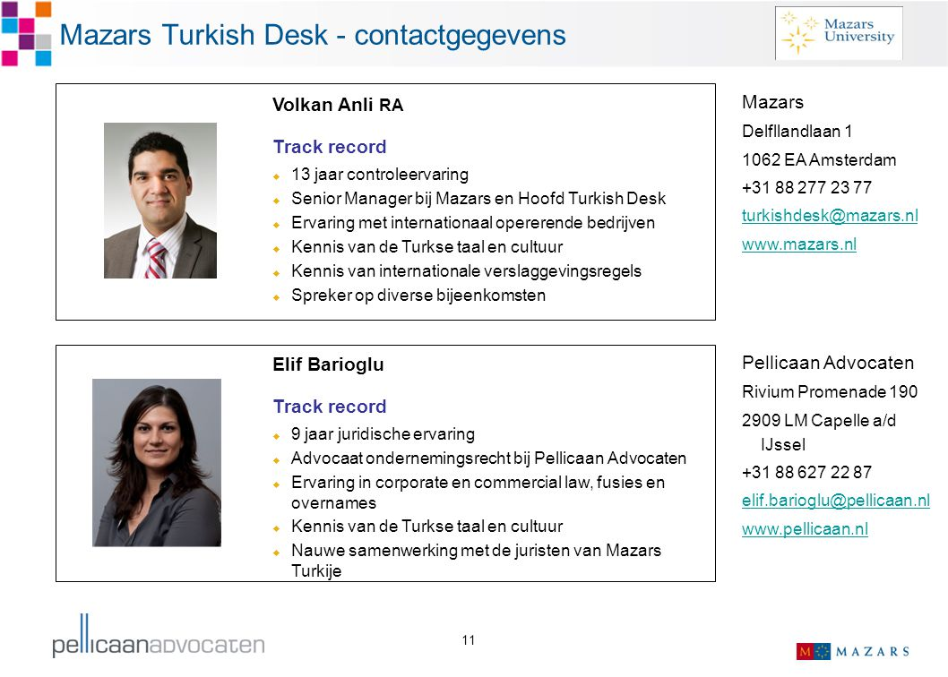 Mazars Turkish Desk - contactgegevens