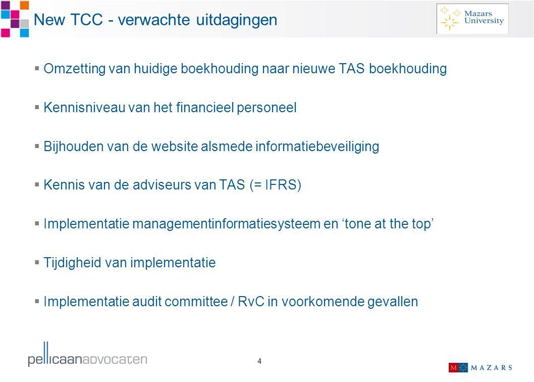 New TCC - verwachte uitdagingen