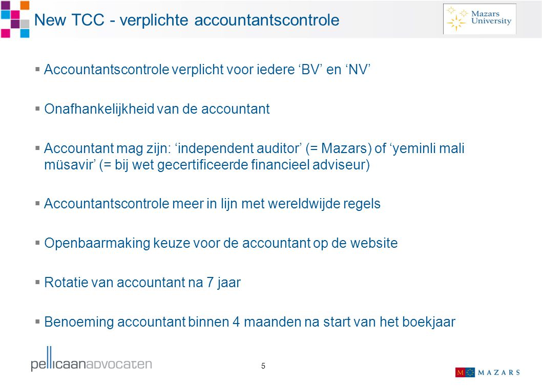 New TCC - verplichte accountantscontrole