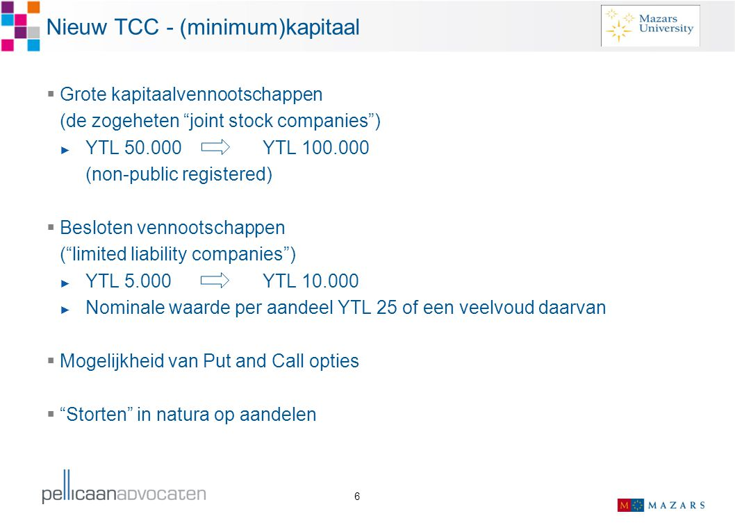 Nieuw TCC - (minimum)kapitaal