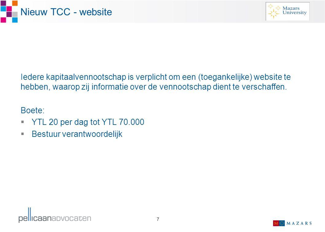 Nieuw TCC - website