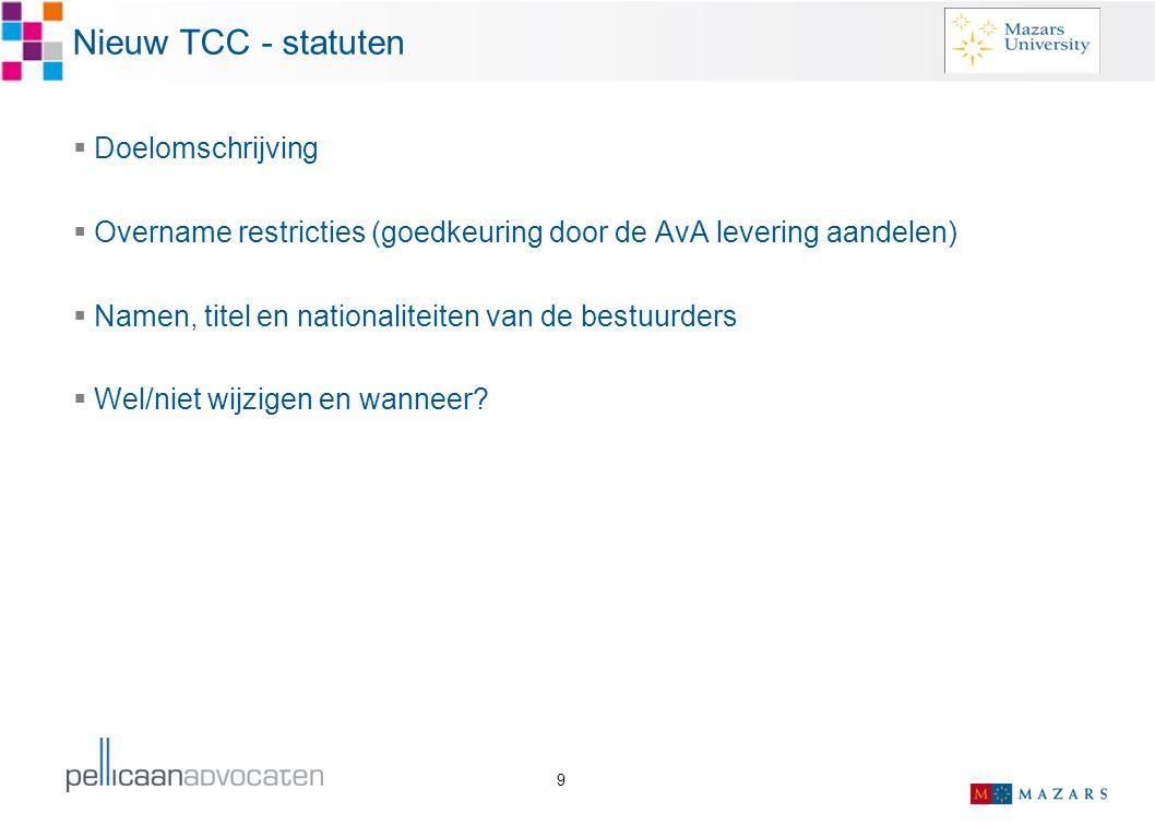 Nieuw TCC - statuten Doelomschrijving
