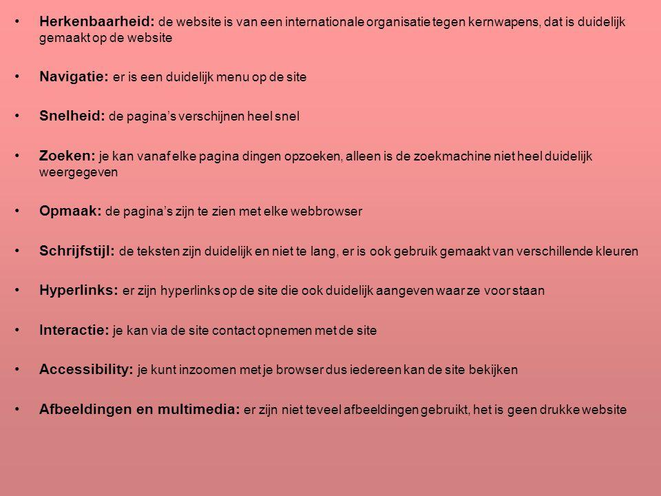 Herkenbaarheid: de website is van een internationale organisatie tegen kernwapens, dat is duidelijk gemaakt op de website
