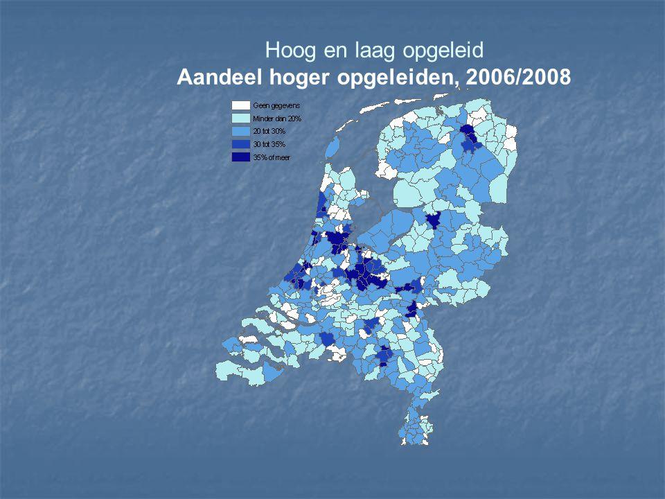 Aandeel hoger opgeleiden, 2006/2008