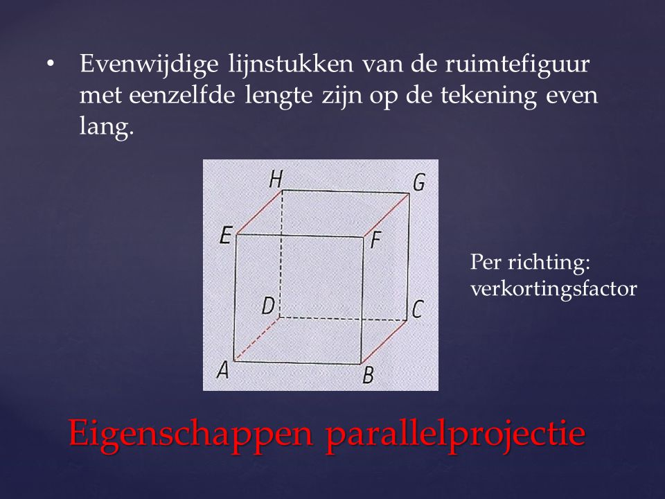 Eigenschappen parallelprojectie