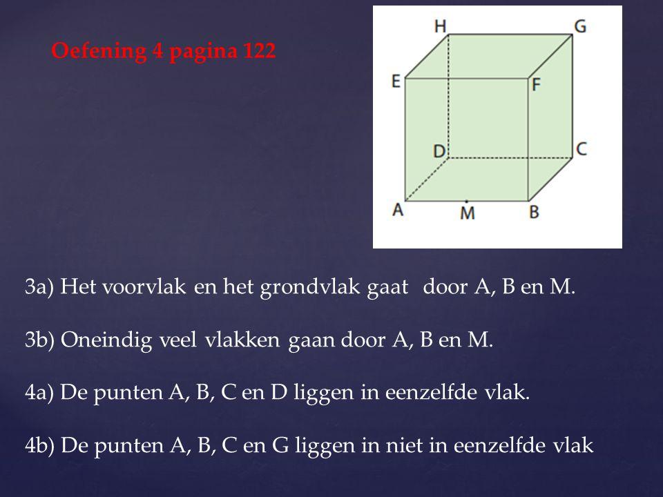 Oefening 4 pagina 122 3a) Het voorvlak en het grondvlak gaat door A, B en M. 3b) Oneindig veel vlakken gaan door A, B en M.