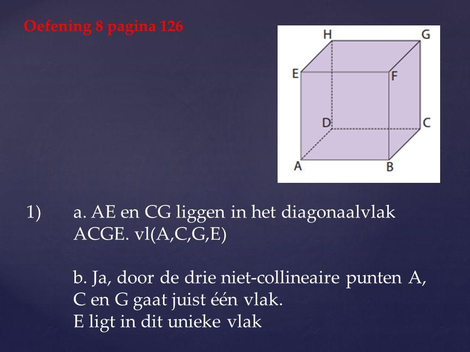 a. AE en CG liggen in het diagonaalvlak ACGE. vl(A,C,G,E)
