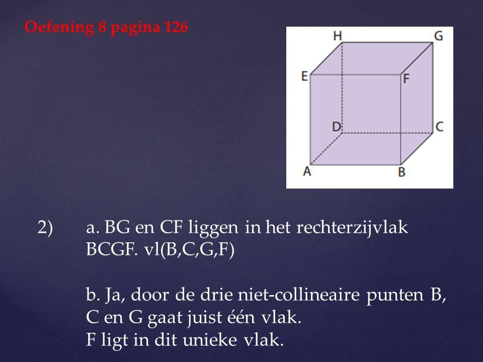a. BG en CF liggen in het rechterzijvlak BCGF. vl(B,C,G,F)