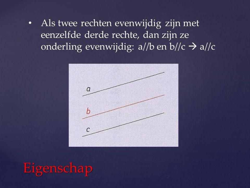 Als twee rechten evenwijdig zijn met eenzelfde derde rechte, dan zijn ze onderling evenwijdig: a//b en b//c  a//c