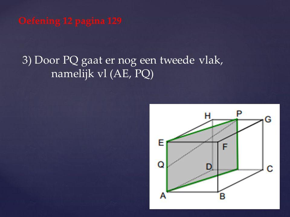 3) Door PQ gaat er nog een tweede vlak, namelijk vl (AE, PQ)