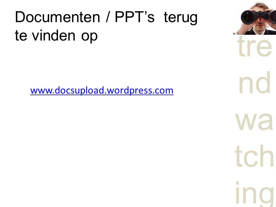 Documenten / PPT's terug te vinden op
