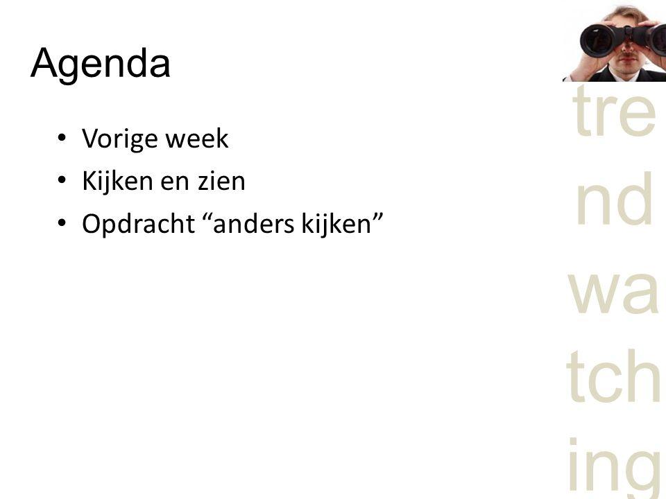 Agenda Vorige week Kijken en zien Opdracht anders kijken
