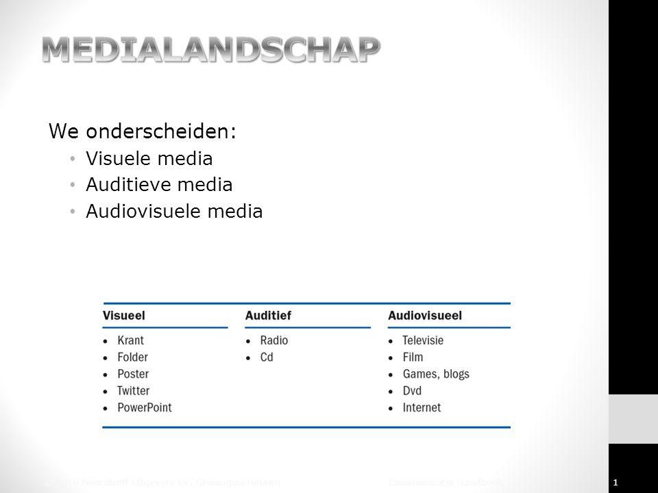 MEDIALANDSCHAP We onderscheiden: Visuele media Auditieve media