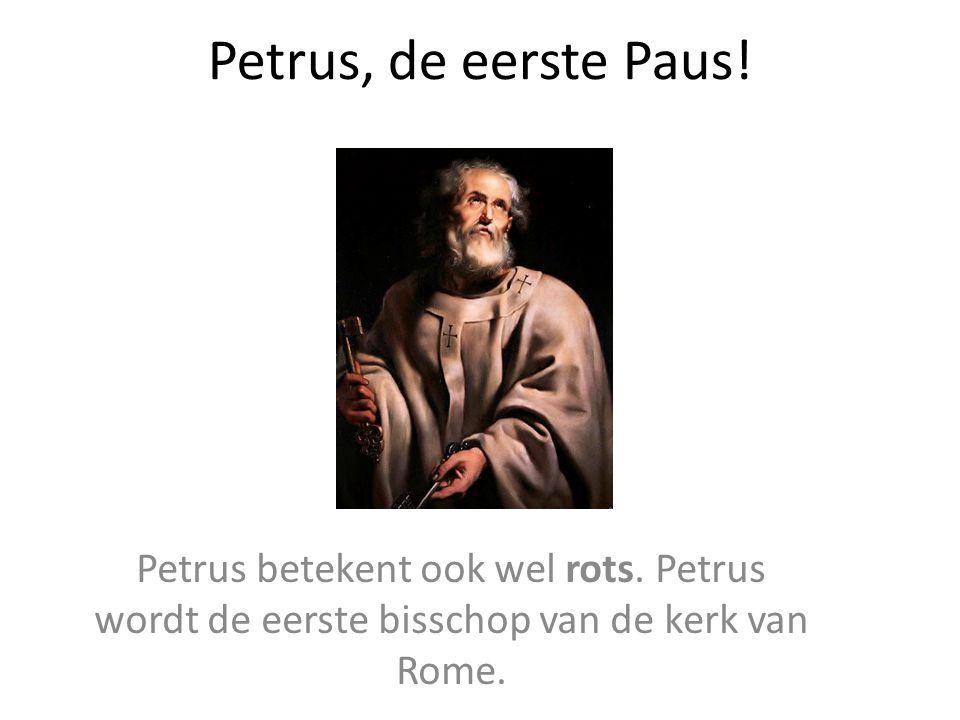 Petrus, de eerste Paus. Petrus betekent ook wel rots.