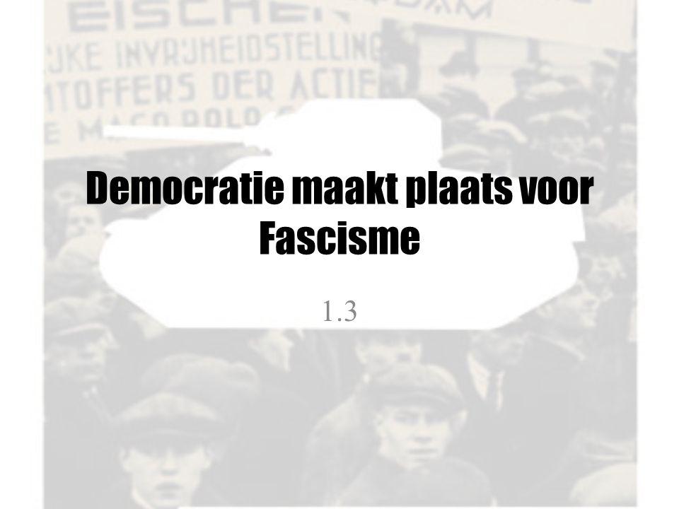 Democratie maakt plaats voor Fascisme
