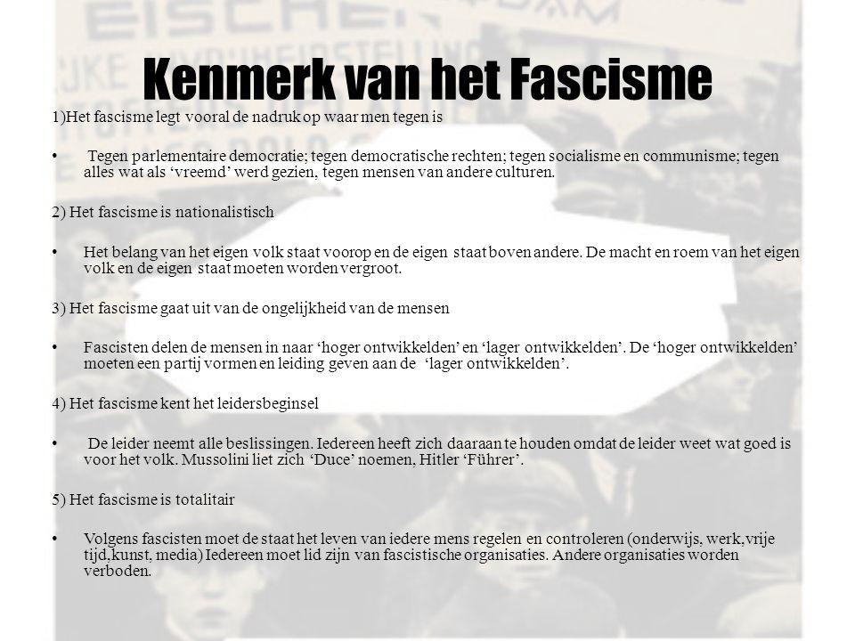 Kenmerk van het Fascisme