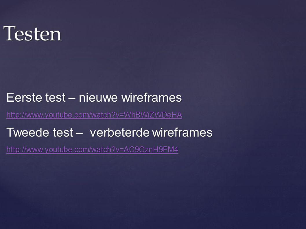Testen Eerste test – nieuwe wireframes