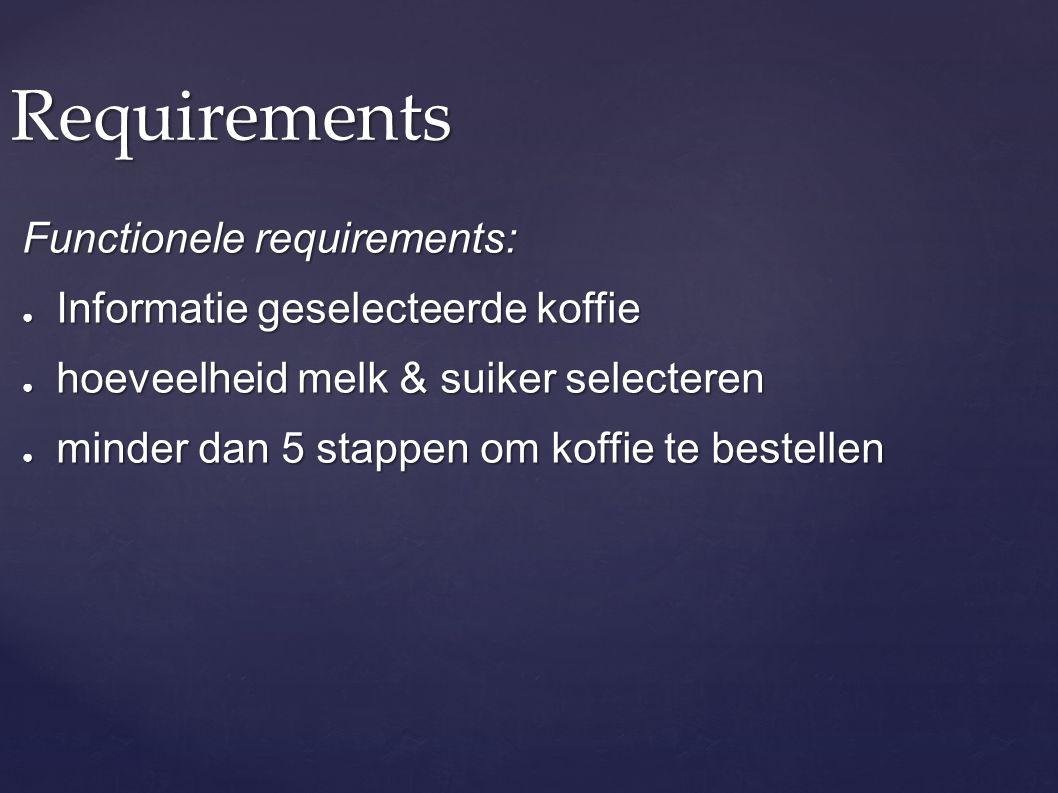 Requirements Functionele requirements: Informatie geselecteerde koffie
