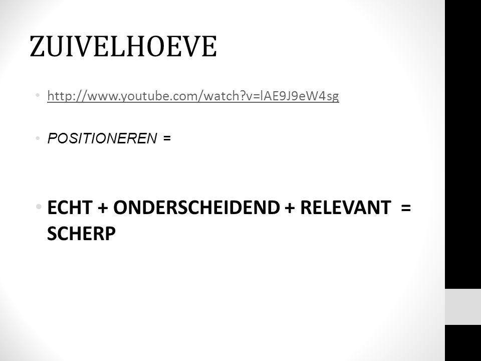 ZUIVELHOEVE ECHT + ONDERSCHEIDEND + RELEVANT = SCHERP